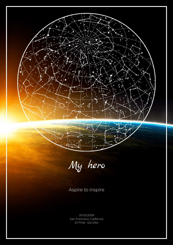 Stop the moment with a unique starry sky map. See the stars and constellations as you could see them in the night sky at any date and from anywhere on Earth using mapstar.space!