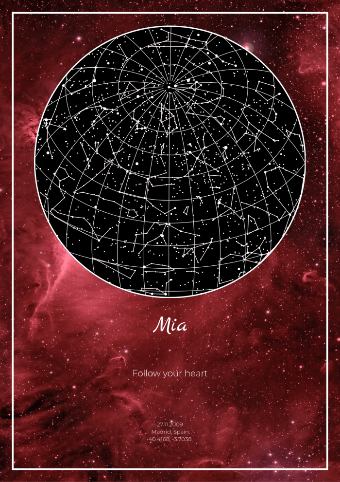 A star map against the backdrop of alluring outer space will be a unique gift for any occasion.