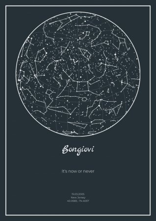 a map of the starry sky on a laconic gray background is suitable for any interior.